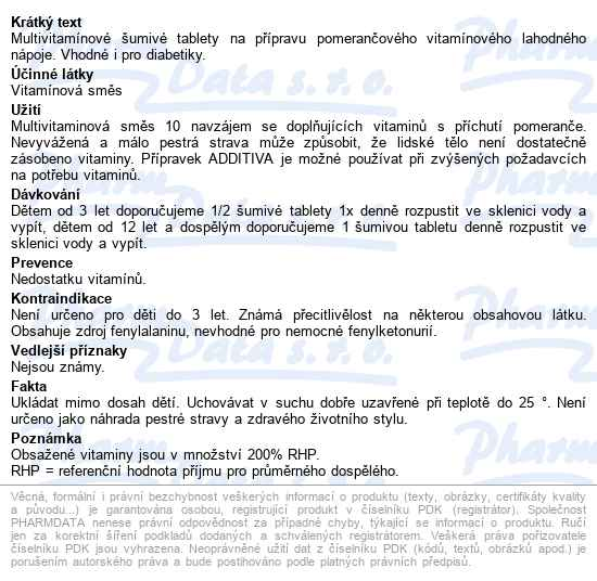 Additiva multivitamin tbl.eff.20 pomeranè